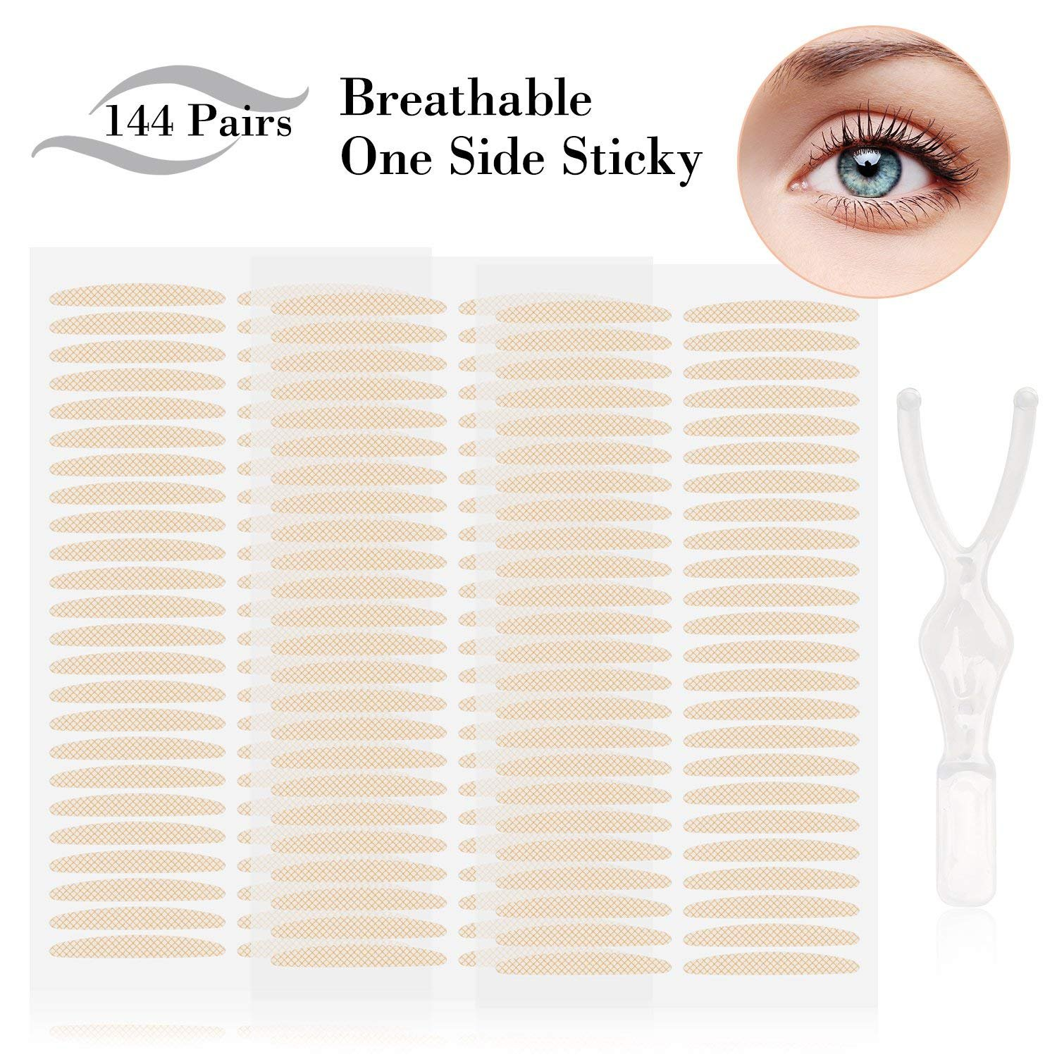 144 Pairs Invisible Breathable Fiber Eyelid Tape Stickers - Instant Eye Lift without Surgery - Perfect for Hooded, Droopy, Uneven, or Mono-eyelids (144 Pairs,M Size) Cayanmydery