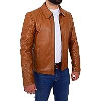 HOL Mens Real Leather Harrington Jacket Slim Fit Zip Box Classic Style Carl Tan