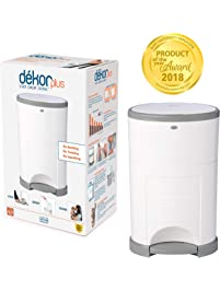 Dekor Plus Hands-Free Diaper Pail | Easiest to Use | Just Step – Drop – Done | Doesn't Absorb Odors | 20 Second Bag...