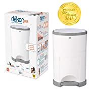 Dekor Plus Hands-Free Diaper Pail | Easiest to Use | Just Step – Drop – Done | Doesn't Absorb Odors | 20 Second Bag Change | Most Economical Refill System |Great for Cloth Diapers | white w/gray trim