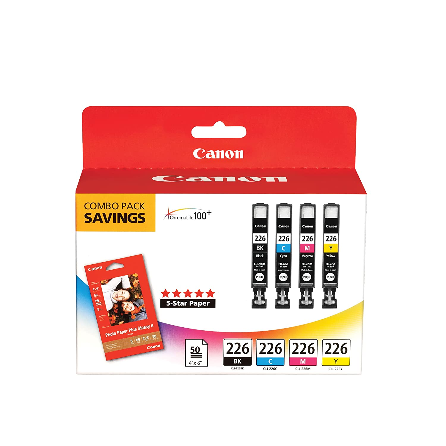 """CLI226 Color Pack with Photo Paper 50 Sheets """"Canon CLI226 Color Pack with Photo Paper 50 Sheets Compatible to iP4820, MG5220, MG5120, MG6120, MG8120, MX882, iX6520, iP4920, MG5320, MG6220, MG8220, MX892"""""""