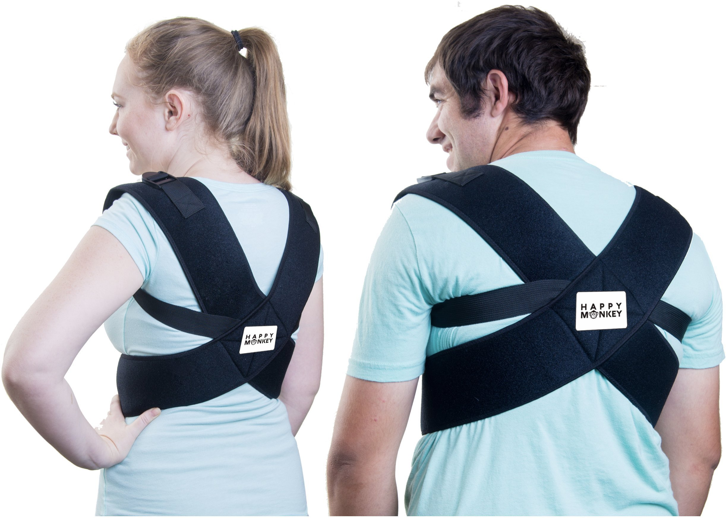 Posture Corrector for Women and Men - Back and Shoulder Support with Adjustable Straps - Correct Hunchback and Bad Computer Posture - Improve Cervical, Thoracic, and Lumbar Comfort - by Happy Monkey
