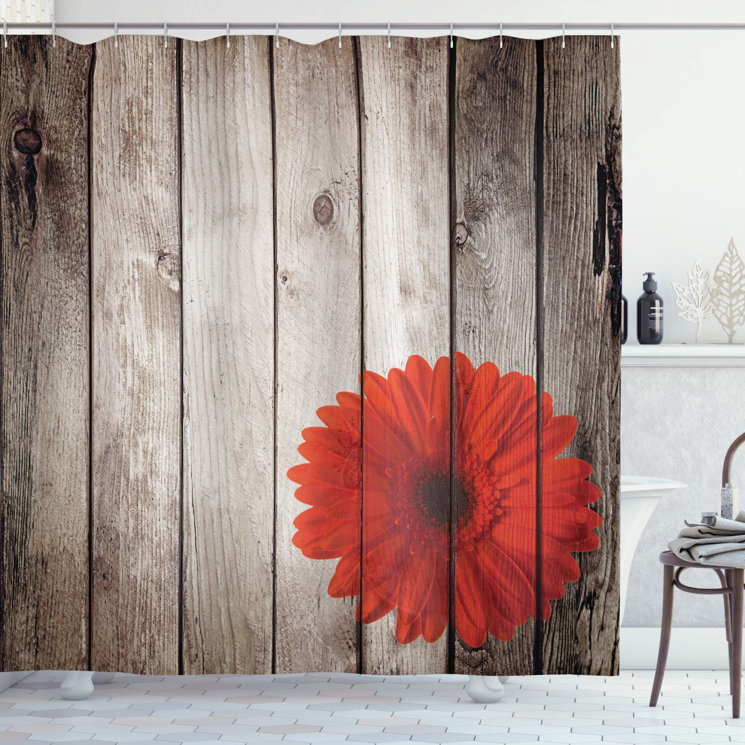 Ambesonne Grunge Decor Shower Curtain Set, Rustic Wooden Garden Fence with a Red Daisy Bloom Picture Flower Art Floral Garden Design, Bathroom Accessories Collection, Polyester Fabric,Grey Red