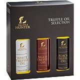 TruffleHunter Truffle Oil Selection Gift Set - White, English & Black Truffle Oil (3 x 3.38 Oz) Real Truffle Pieces Olive Oil