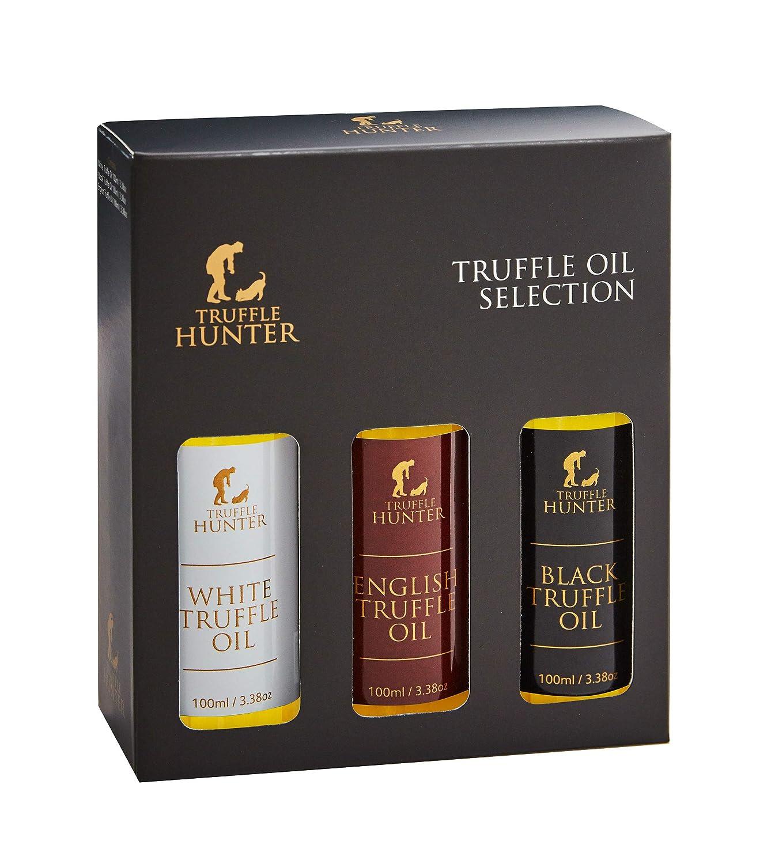 TruffleHunter Truffle Oil Selection Gift Set - White, English & Black Truffle Oil (3 x 3.38 Oz) Real Truffle Pieces Olive Oil Gourmet Food Seasoning Marinade - Vegetarian Vegan Kosher & Gluten Free