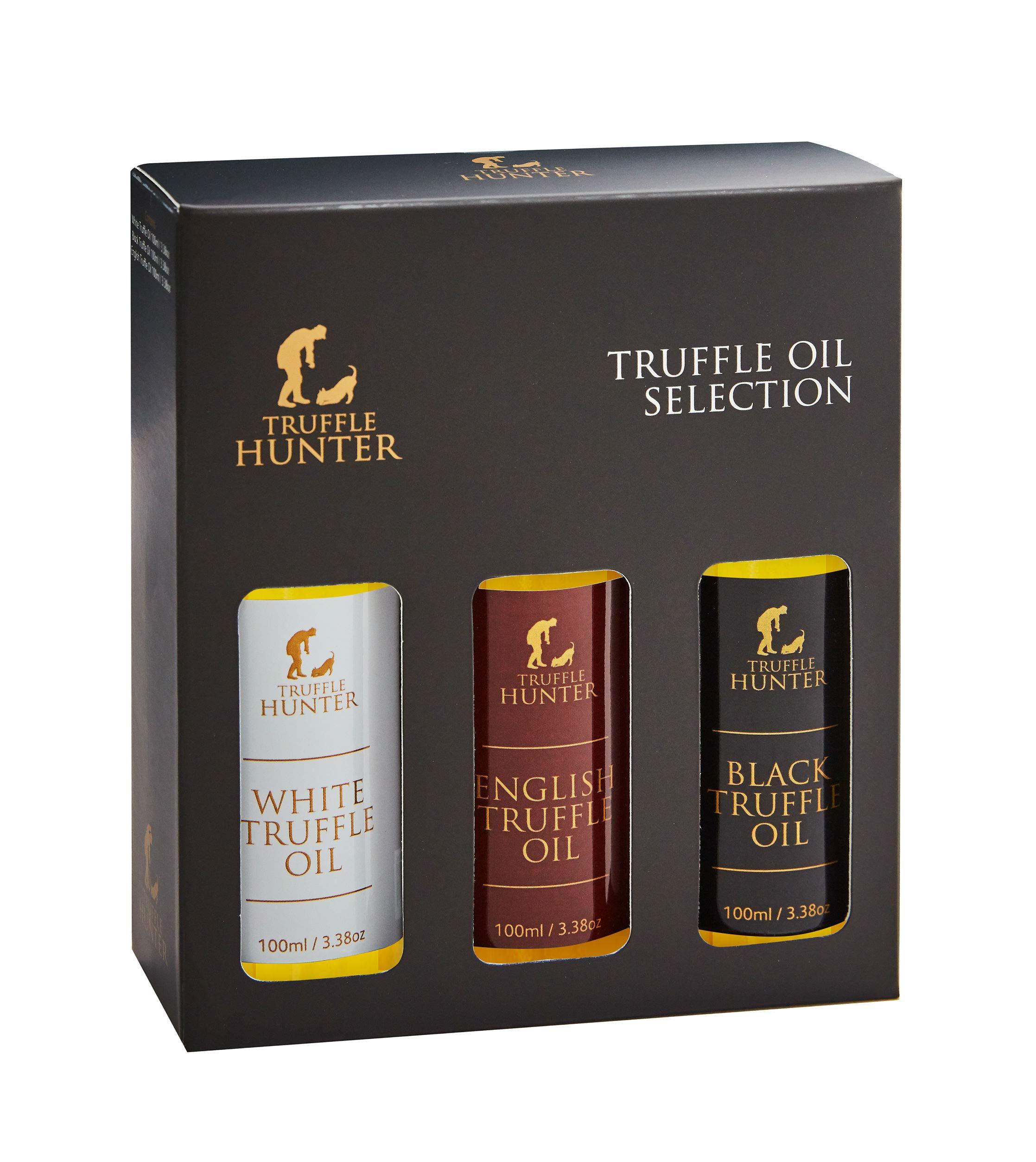TruffleHunter Truffle Oil Selection Gift Set - White Truffle Oil, English & Black Truffle Oil (3 x 3.38 Oz) Cold Pressed Extra Virgin Olive Oil Seasoning Gourmet Food Condiments Salad Dressing by TruffleHunter