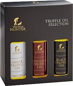 Truffle Oil Selection Gift Set by TruffleHunter - Contains White Truffle Oil, English Truffle Oil, Black Truffle Oil (3 x 3.38 Oz) In a Presentation Gift Box - Kosher, Vegetarian, Vegan & Gluten Free