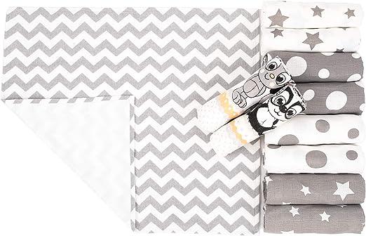 Muselinas Bebé de Algodón & Cambiador Portátil para Bebes Incluido, MADE IN EU - Paño Muselinas, Manta para Bebes Extra Suave, Muselinas Cuadradas Unisex – Pack de 10 (80x80 cm): Amazon.es: Hogar