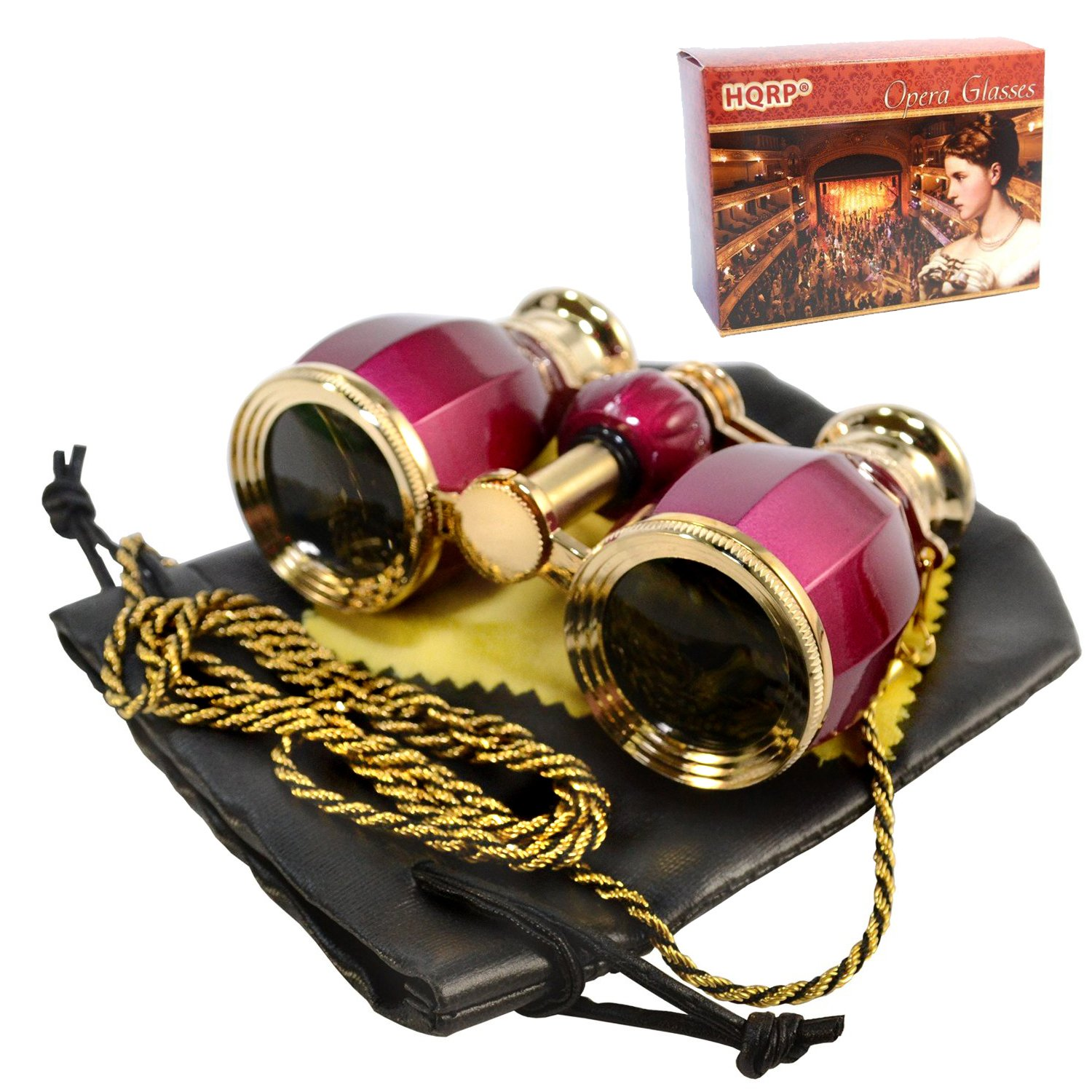HQRP Opera Glasses Antique Style in Elegant Red Color with Gold Trim w/ Crystal Clear Optics (CCO) w/ Chain