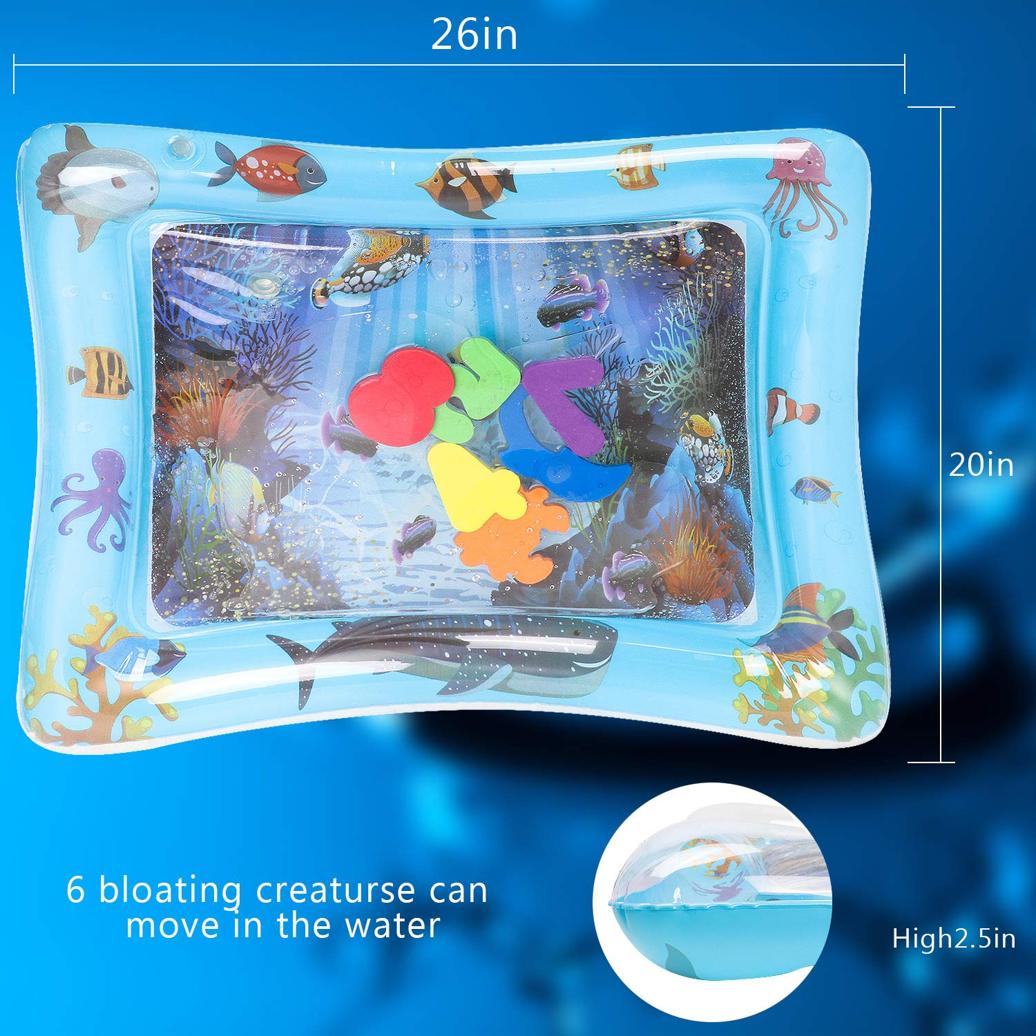 Tummy Time Baby Kids Water Play Mats Leakproof Water Mat Toy for Babys Stimulation Growth Homened Inflatable Water Mat