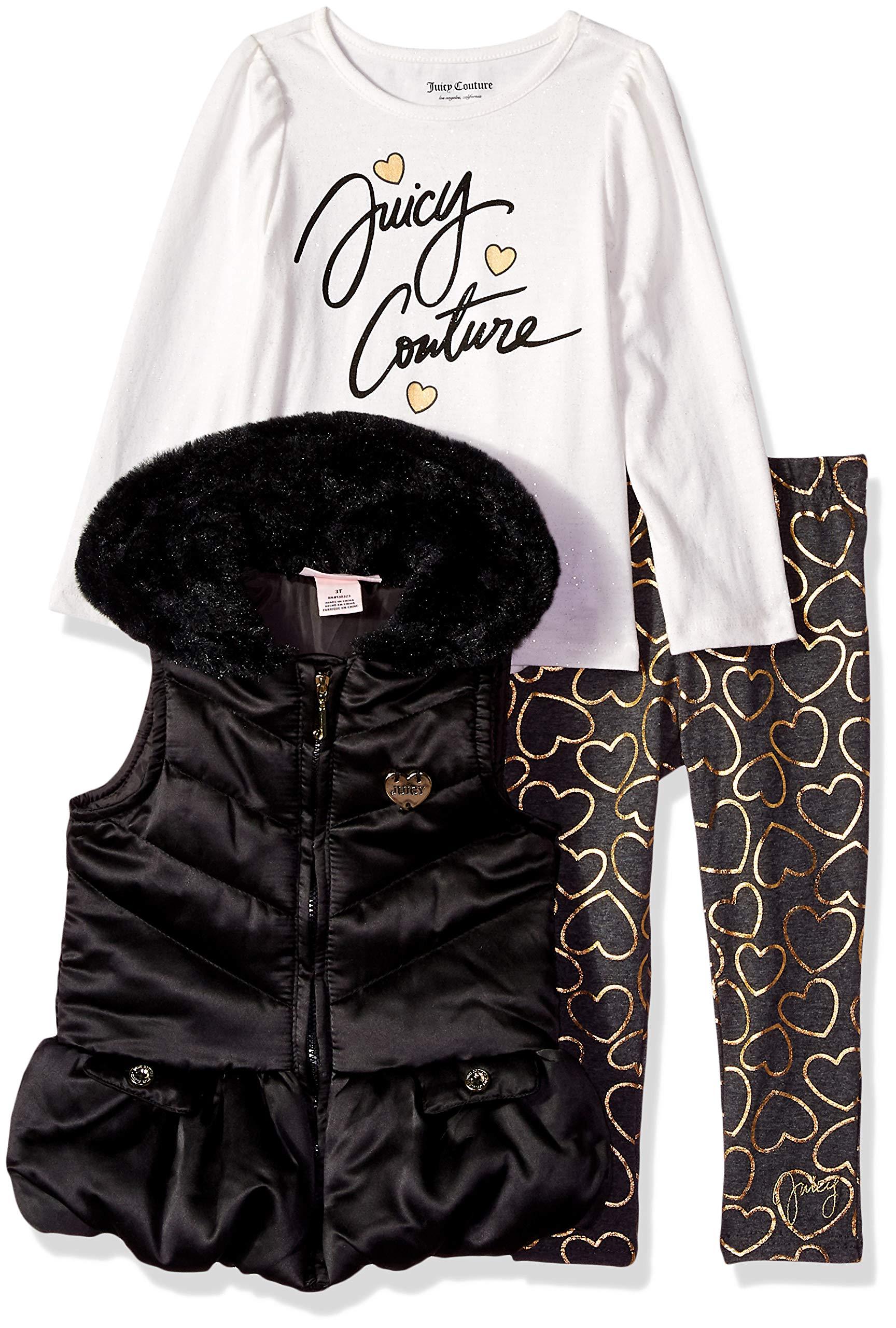 Juicy Couture Girls' 3 Pieces Puff Vest Set