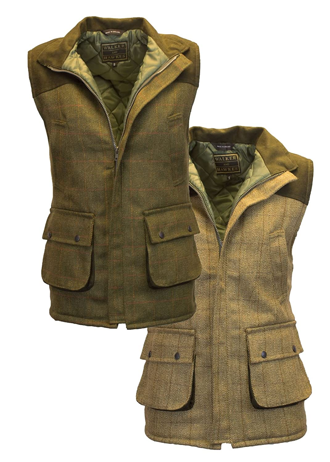 24324359ec7 Walker and Hawkes Men s Tweed Shooting Waistcoat Gilet with Shoulder Patch  at Amazon Men s Clothing store