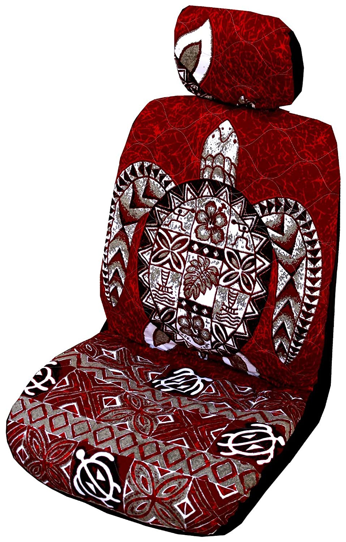 Set of 2 Winnie Fashion 690852003113 Red Big Honu Hawaiian Separate Headrest Car Seat Cover; Made in Hawaii