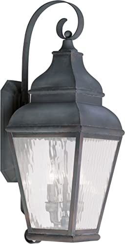 Livex Lighting 2605-61 Exeter 3-Light Outdoor Wall Lantern, Charcoal
