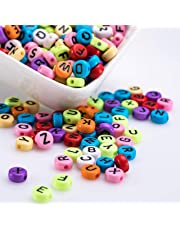 Kurtzy 1000 Piezas Abalorios Letras Alfabeto Multicolor - Cuentas de 6 x 6mm para Hacer Brazaletes