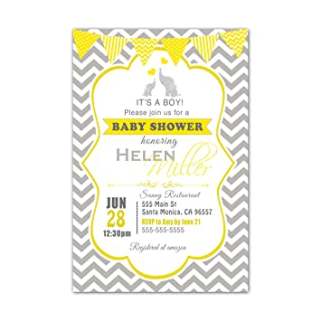 Amazon 30 invitations yellow gray elephant baby shower 30 invitations yellow gray elephant baby shower personalized cards photo paper filmwisefo