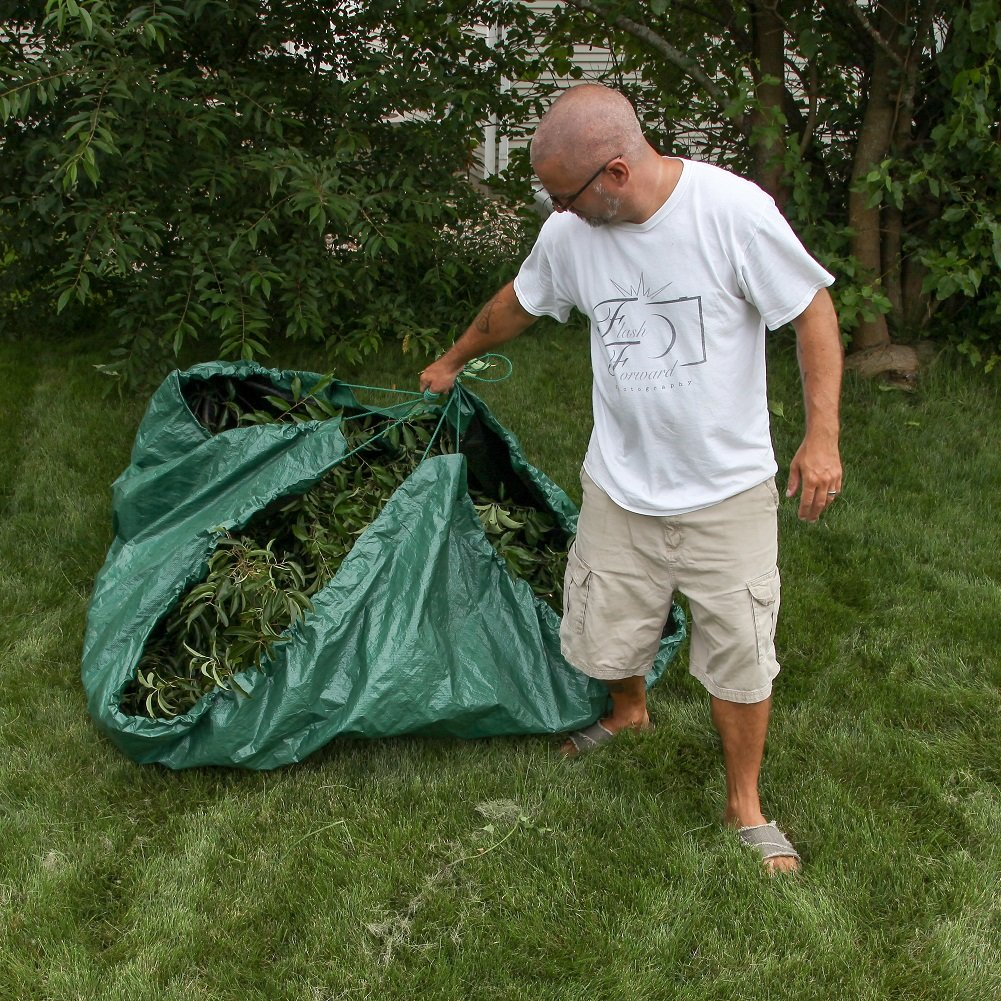 Shefko 0-99393-10909-4 Yard Tarp 8.2 X 8.2 - Versatile Drawstring Tarp for Yard Clean Ups - Convenient and Handy - Formed Into an Instant Dragging Bag - Ideal as BBQ Grill and Outdoors Furniture Cover by Shefko (Image #5)