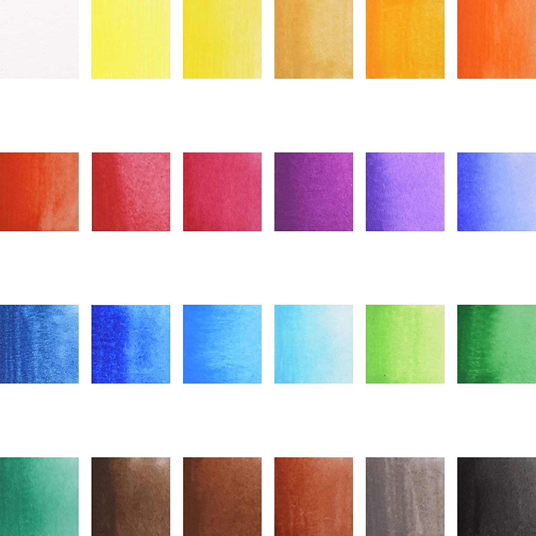1 Pinceau Stationery Island Collection Cr/éative Set de Peinture /à laquarelle 24 Couleurs pan 1 Pinceau Aquatique Palette de m/élange dans Une bo/îte en Fer-Blanc