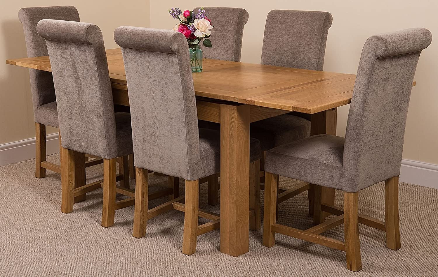 Richmond 140cm 220cm Oak Extending Dining Table And 6 Chairs Dining Set With Washington Grey Fabric Chairs Amazon Co Uk Kitchen Home