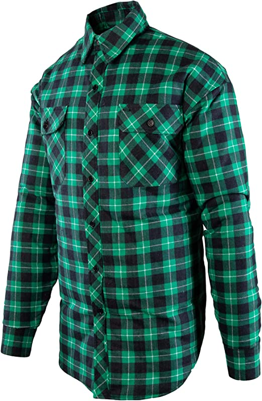 Benefit Bono Camisa de trabajo para hombre, de franela, camisa cuadros, manga larga, algodón, verde