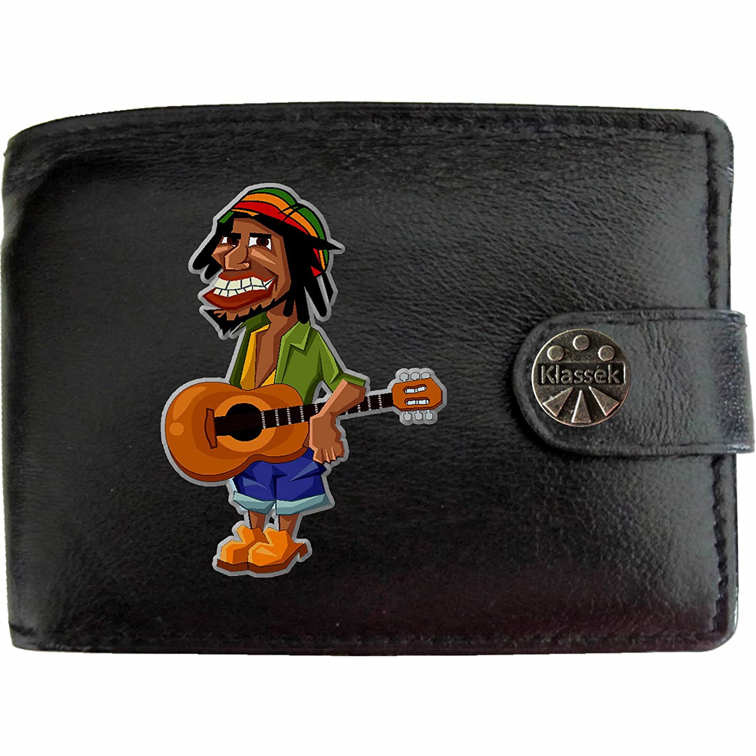 Rasta Man Guitar Klassek Leather Wallet Music Band Rock n Roll gift Fathers Day present with Metal Box