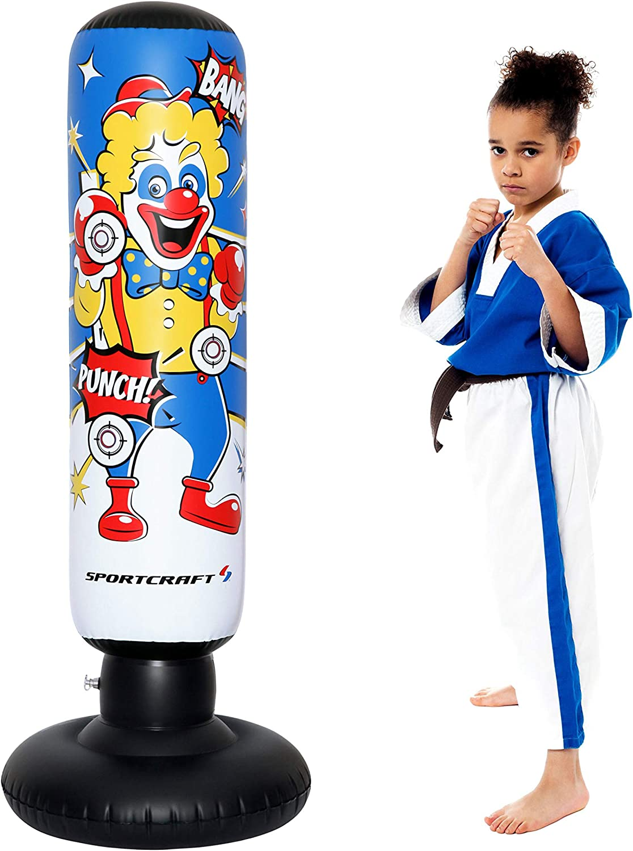 Sportcraft Kids Punching Bag for Kick-Boxing Ninja Kung-fu Karate Taekwondo Training | Stress Relief & Energy Burning Toys