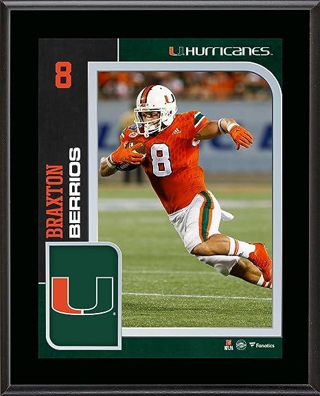 Braxton Berrios Miami Hurricanes 10.5 quot  x 13 quot  Sublimated Player  Plaque - College Player Plaques f3c35d2a7