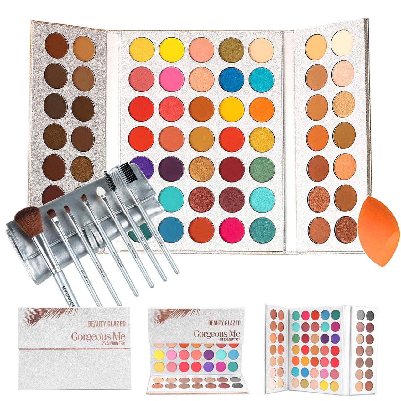 This is an image of an eyeshadow palette in 63 different shades, with brushes, and a blending sponge.