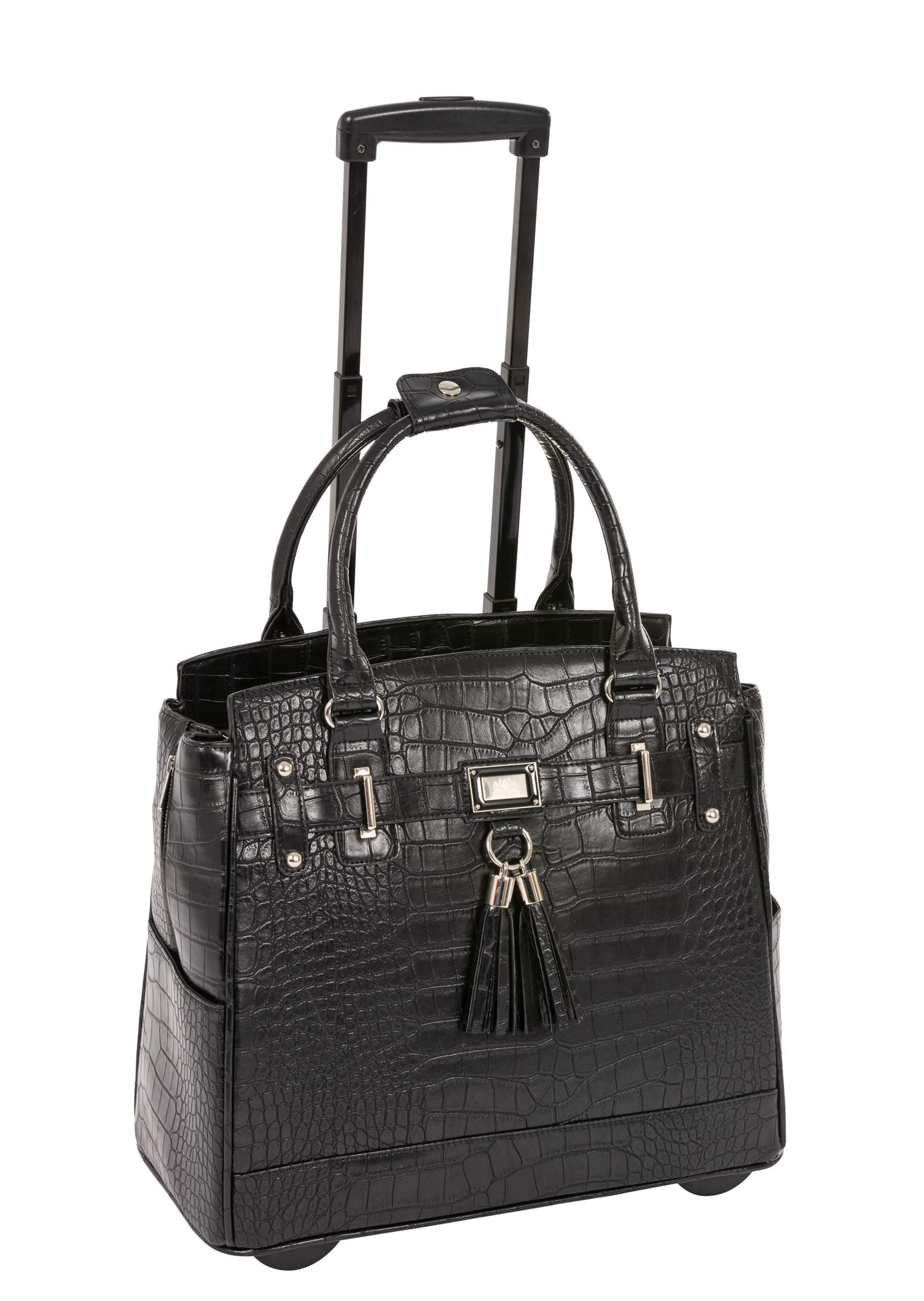 JKM and Company Timeless Black Alligator Crocodile Rolling Compatible with Computer iPad Tablet or Laptop Tote Carryall Bag (17'' 17.3'' inch)