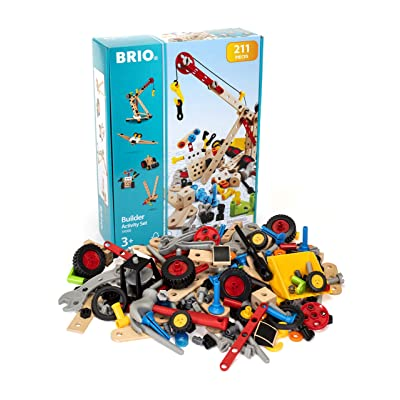 Brio Builder 34588 - Builder Activity Set - 211 Piece Building Set STEM Toy with Wood and Plastic Piecesfor Kids Ages 3 and Up (63458800): Toys & Games