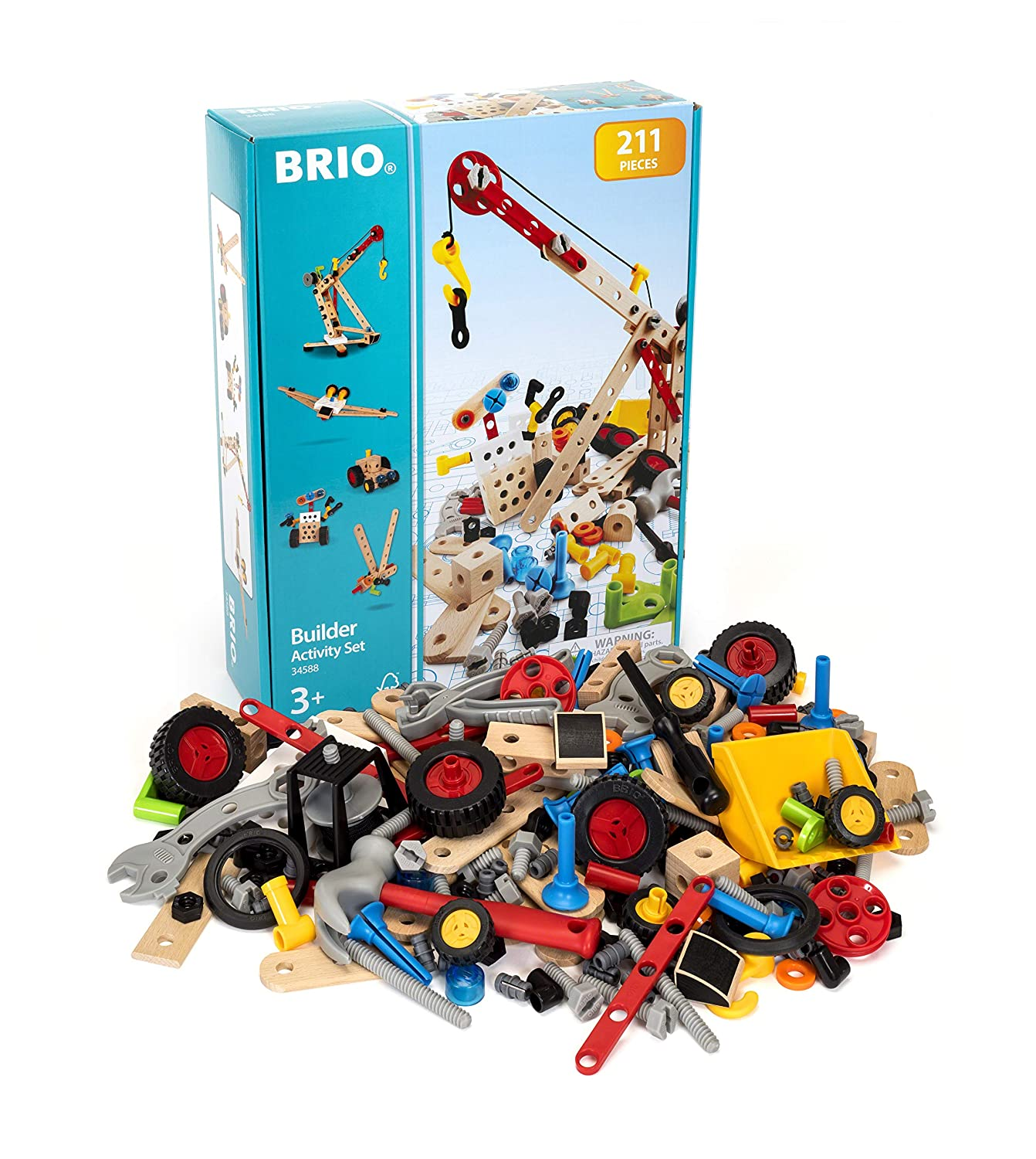 BRIO Builder 34588 - Builder Activity Set - 211 Piece Building Set STEM Toy with Wood and Plastic Piecesfor Kids Ages 3 and Up