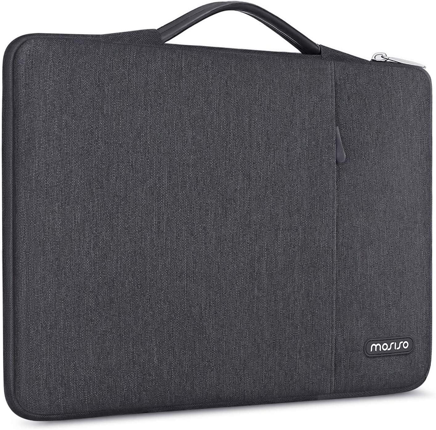 MOSISO 360 Protective Laptop Sleeve Compatible with 13-13.3 inch MacBook Pro, MacBook Air, Notebook Computer, Shockproof Carrying Case Cover Handbag, Polyester Vertical Bag with Pocket, Space Gray