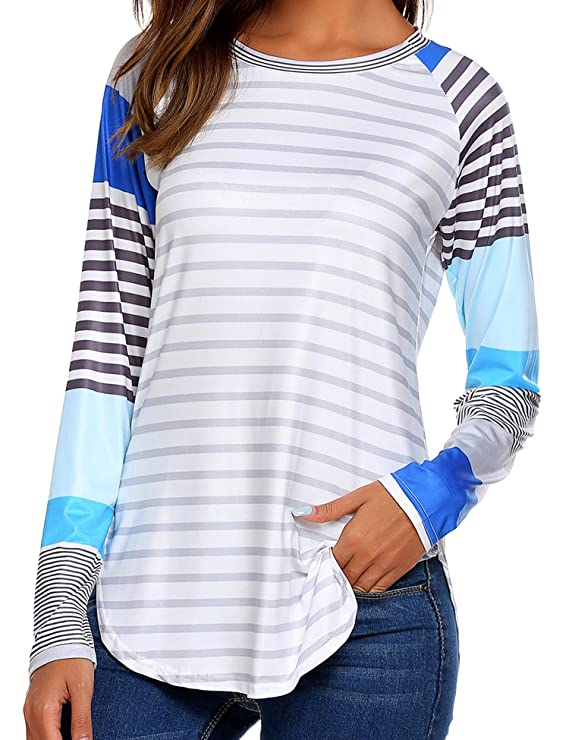 Easther Women's Scoop Neck Long Sleeve Striped T Shirt Tees Summer Casual Blouse Shirts Medium