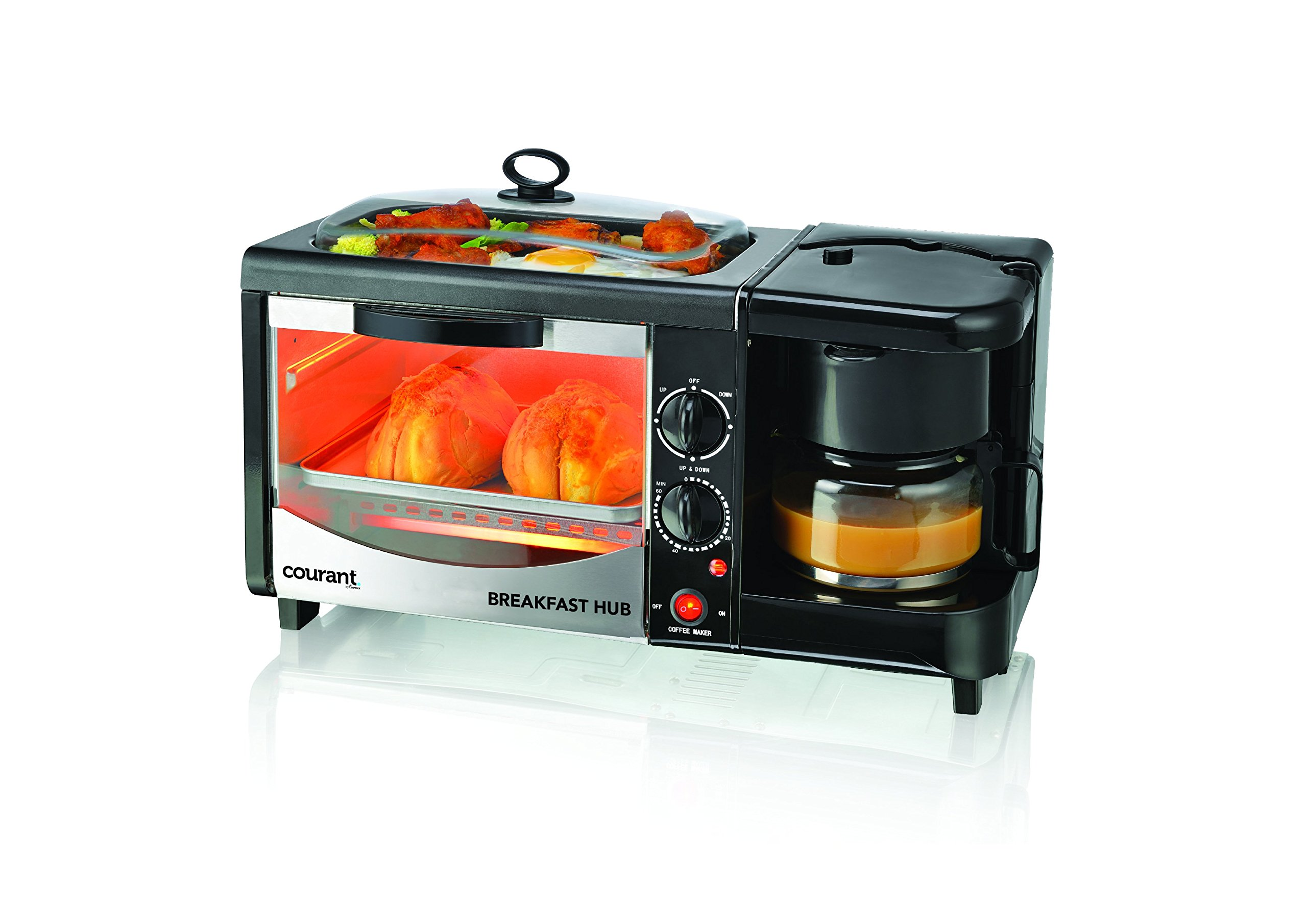 Courant 3-in-1 Multifunction Breakfast Hub (4 Slice Toaster Oven, Large 10'' Diameter Griddle Pan, Multi Cup Coffee Maker), Black by Courant