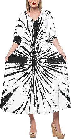 LA LEELA Womens Caftan Casual Dress Night Gown Beach Cover Ups Drawstring A
