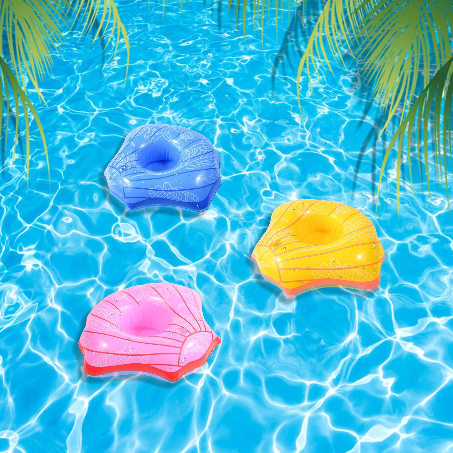 LUCUNSTAR 6PCS Shell Inflatable Drink Cup Holder Float Coasters Summer Style Adult Beach Swimming Pool Party Drink Cup Holder Toy Shell Cup Holder