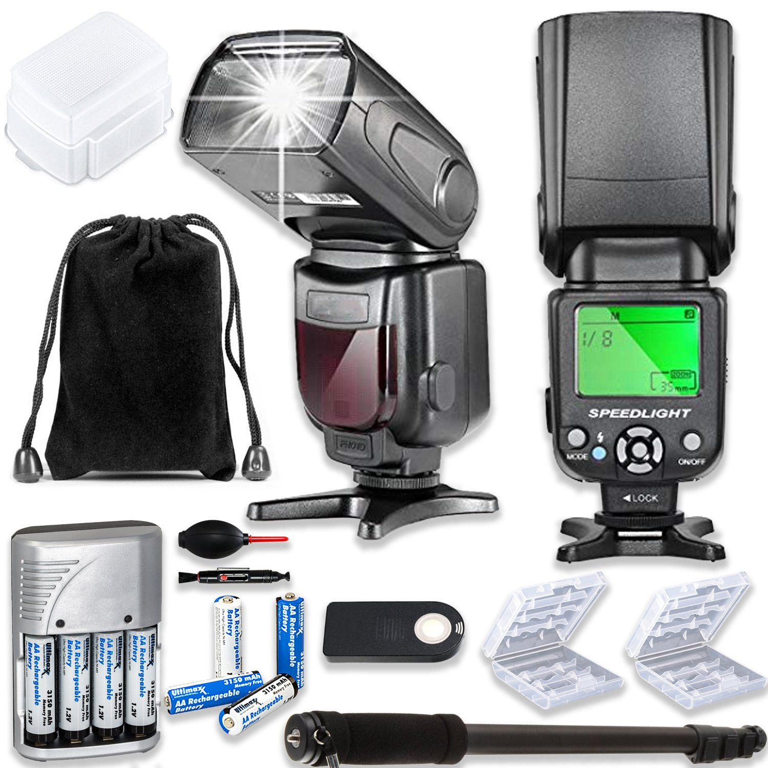 TTL Speed Light Flash for Canon DSLR Cameras EOS Rebel T3, T4, T6, T1i, T2i, T3i, T4i, T5i, T6i, T7i + Monopod + 4 AA Rechargeable Batteries & Charger + 2X Battery Case + Accessory Bundle by Paging Zone