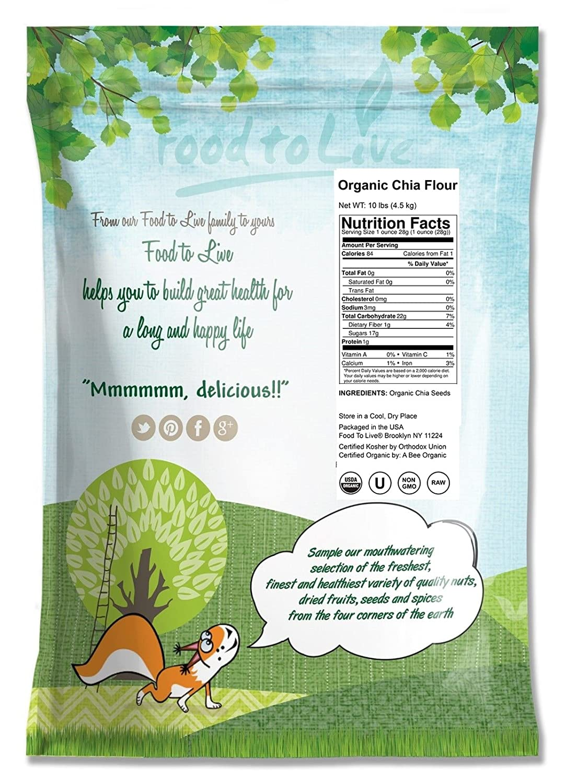 Food to Live Harina de Chia Bio certificada (Eco, Ecológico, no OGM, a granel, kosher) (10 libras): Amazon.es: Alimentación y bebidas
