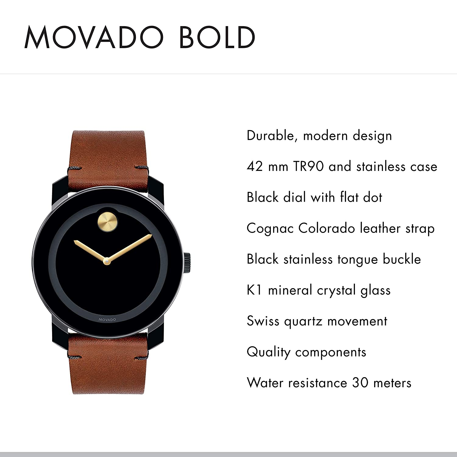 9f9b9d46e Amazon.com: Movado Men's BOLD TR90 Watch with a Sunray Dot and Leather  Strap, Black/Gold (Model 3600305): Watches