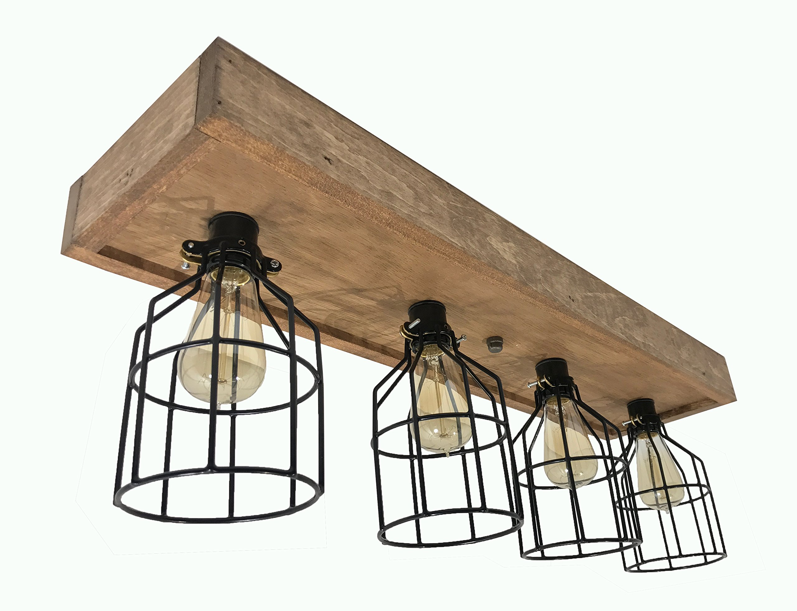 Flush Mount Farmhouse Style Light Fixture - Real Wood Chandelier Light Made in USA - Rustic Design For Kitchen, Dining Room, Over Island - Vintage Industrial Decor Wooden Lighting (4 Light with Cage)