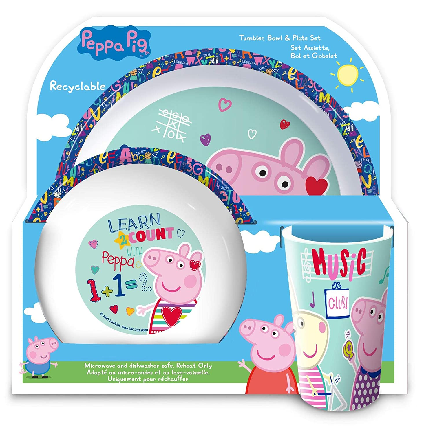 Peppa Pig 6-Piece Dinner and Cutlery Set Tumbler, Bowl ...