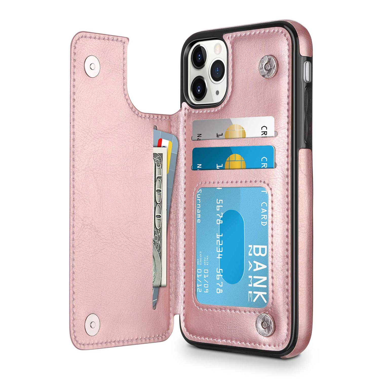 Oihxsetx Wallet Case for iPhone 11 Pro with Credit Card Holder, Premium PU Leather Card Slots, Protective Flip Folio Cover Compatible with iPhone 11 Pro - Rose Gold by Oihxsetx