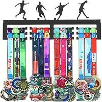 GENOVESE Fútbol Colgador de Medallas, Metal de Acero Negro, Montaje en Pared 50 Medallas
