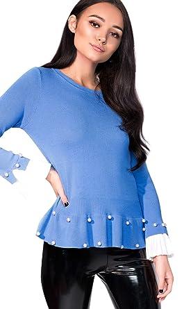 b824550691d Ikrush Womens Nelly Pleated Sleeve Beaded Jumper Blue  Amazon.co.uk   Clothing