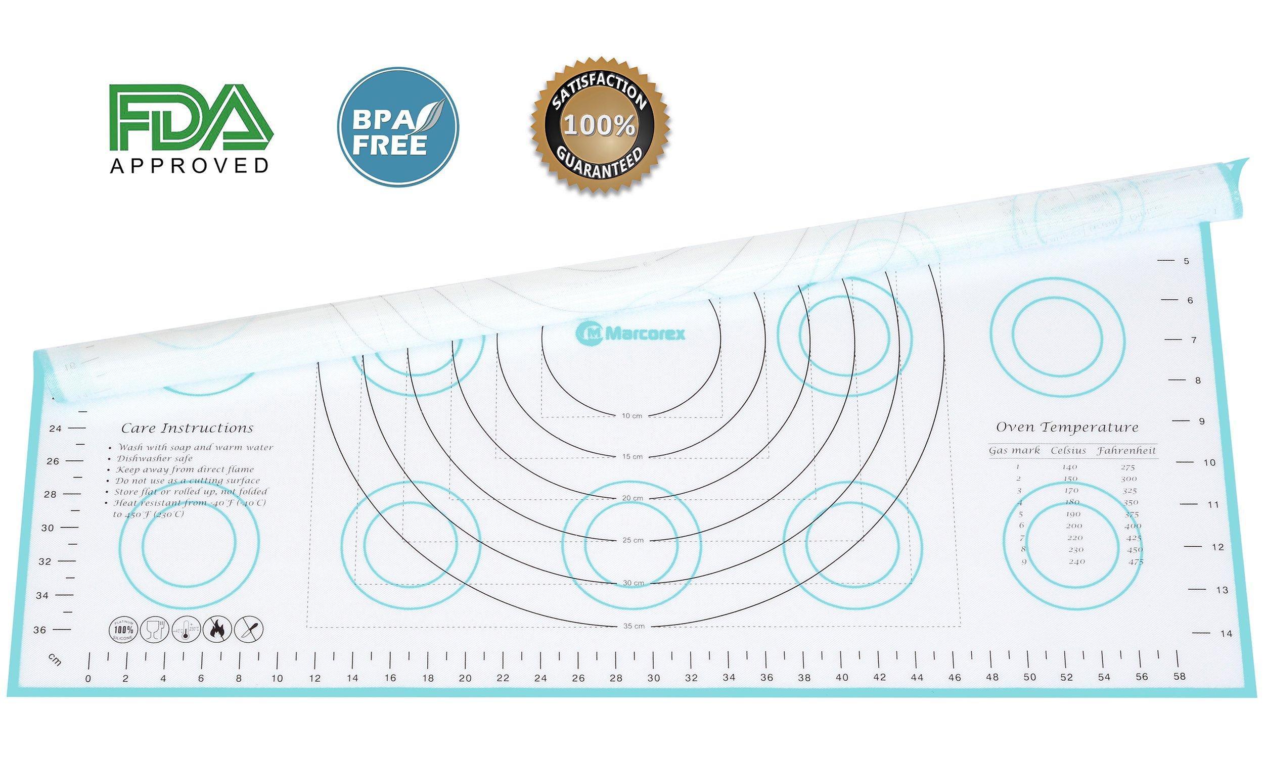 Marcorex Extra-Large Silicone Pastry Mat with Measurements and Conversion Charts, Non-Stick Non-Slip, Fondant Mat, Cookie Rolling Dough Mat (X-Large (26'' x 17''), Blue) by Marcorex (Image #4)