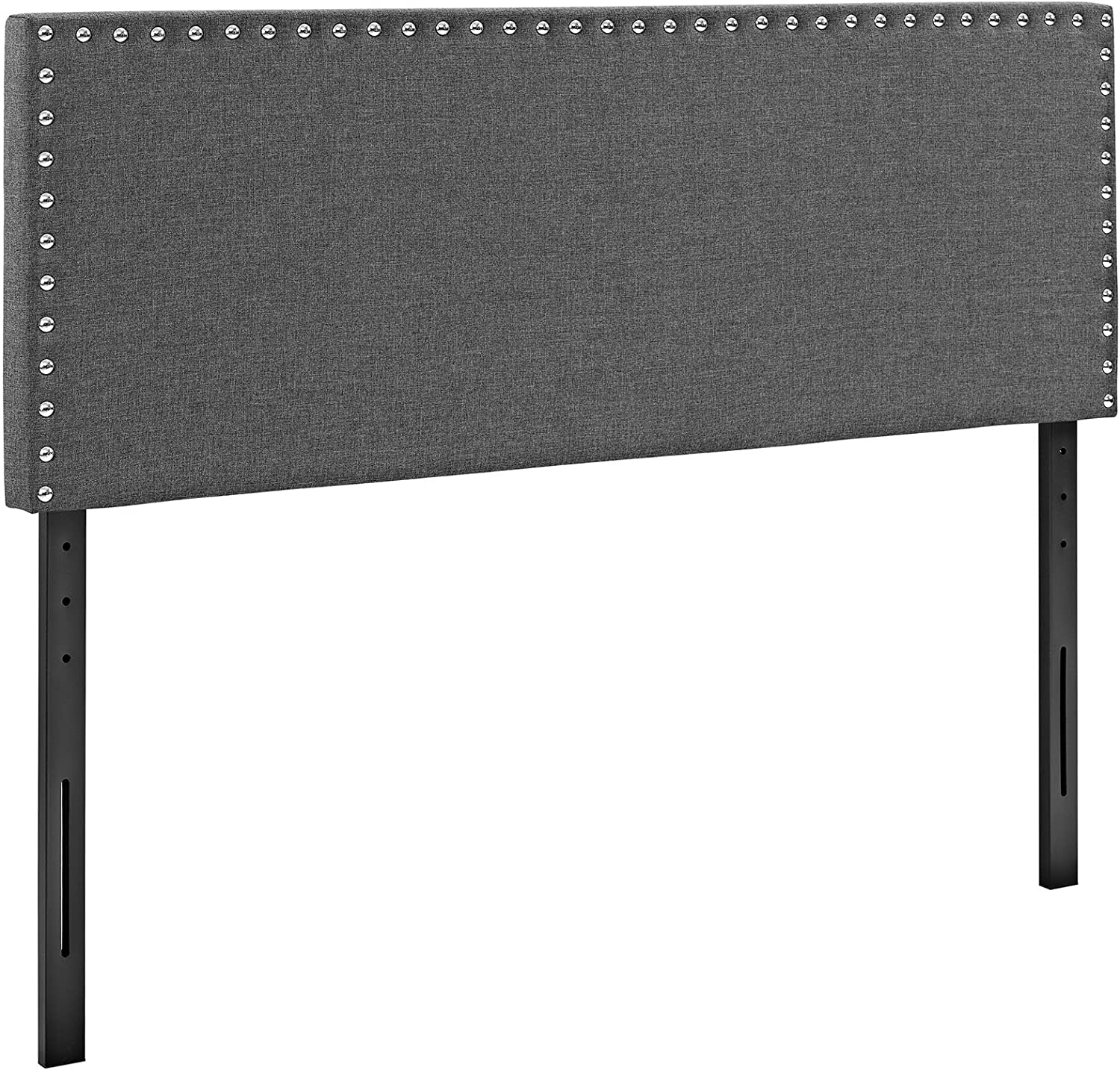 Modway Phoebe Linen Fabric Upholstered King Headboard in Gray with Nailhead Trim