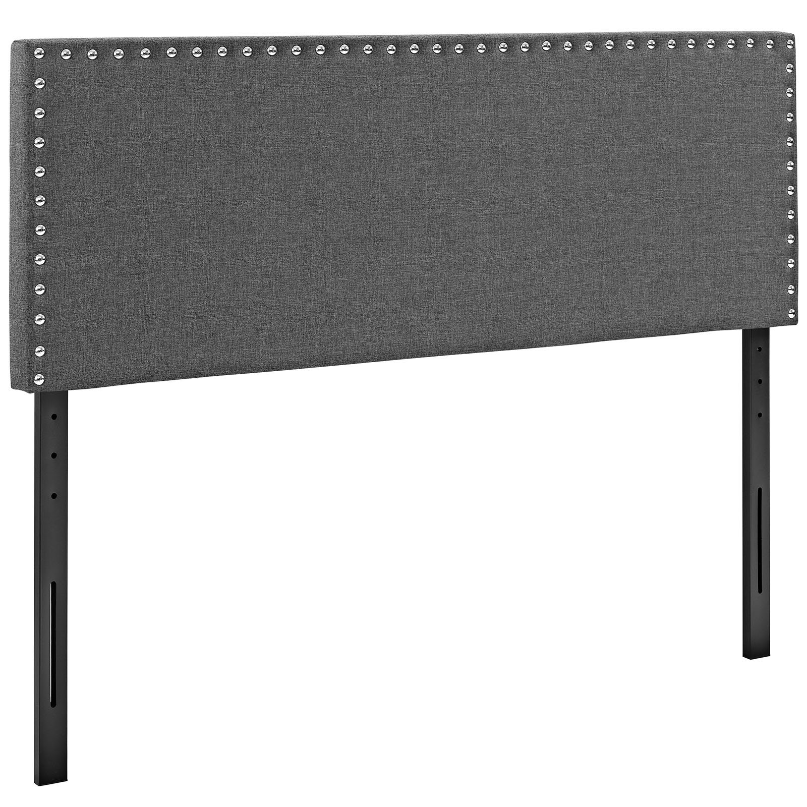 Modway Phoebe Fabric Upholstered Queen Size Headboard With Nailhead Trim in Gray