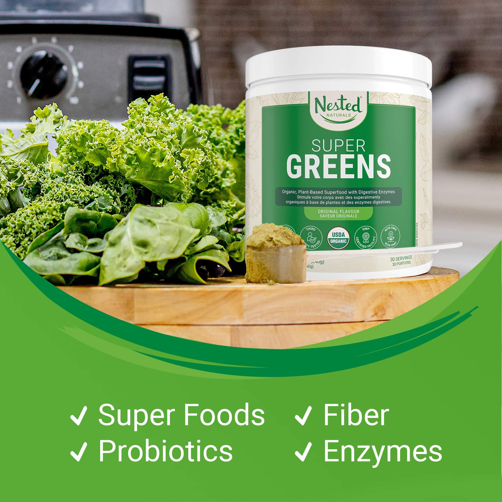 Super Greens | #1 Green Superfood Powder | 100% USDA Organic Non-GMO Vegan Supplement | 30 Servings | 20+ Whole Foods (Spirulina, Wheat Grass, Barley), Probiotics, Fiber & Enzymes (Original)