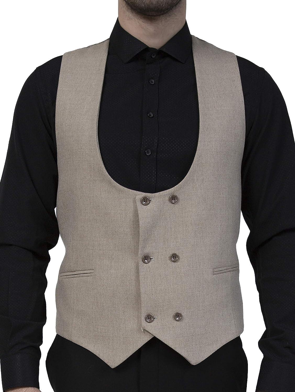 Jack Martin Blue Herringbone Tweed Double Breasted Waistcoat