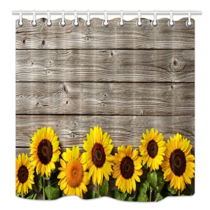 NYMB Sunflower Shower Curtain Spring Flowers On Rustic Wood Plank Country Theme Mildew Resistant